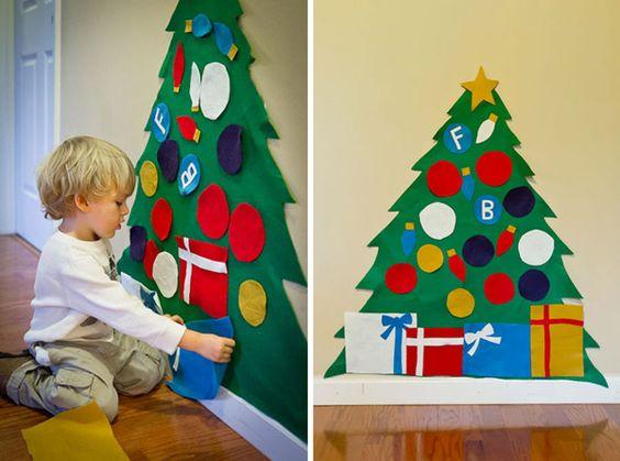 Árboles de Navidad con fieltro y cartulinas